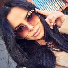 BRAND DESIGN Luxury Polarized Sunglasses Men Women Driving Rimless Sun Glasses UV400 Male Retro Gradient Glasses Gafas De Sol цена и фото