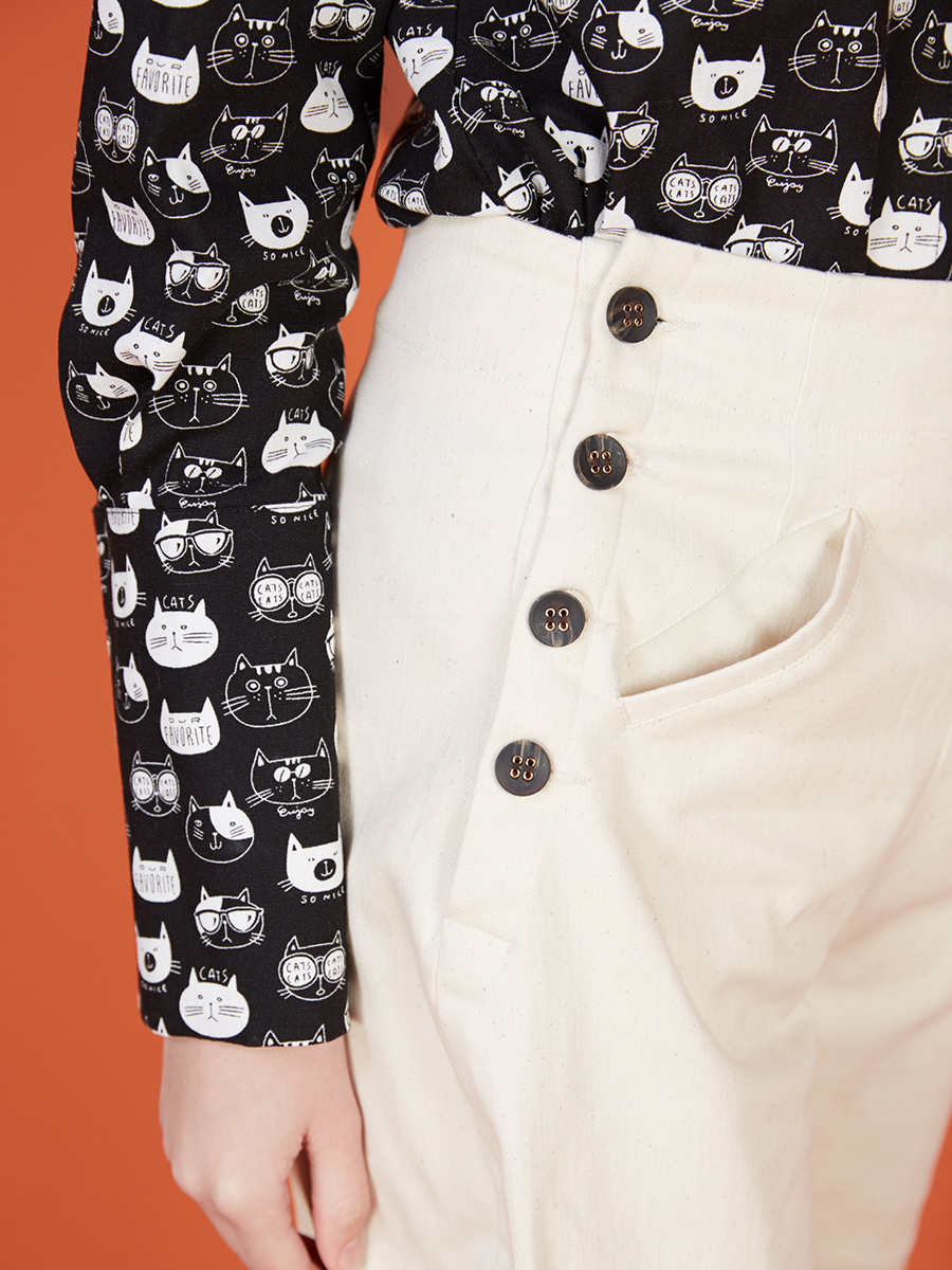 LYNETTE 'S CHINOISERIE di Autunno della Molla delle Donne di Disegno Originale Reale Dell'annata di Alta Della Vita Dei Pantaloni Della Matita - 6