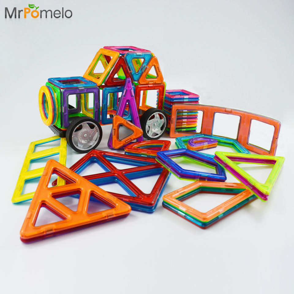 MrPomelo Expansion Set Big Size Magnetic Designer Building Blocks Educational Brick Toy Construction Enlighten Assembly for Kids