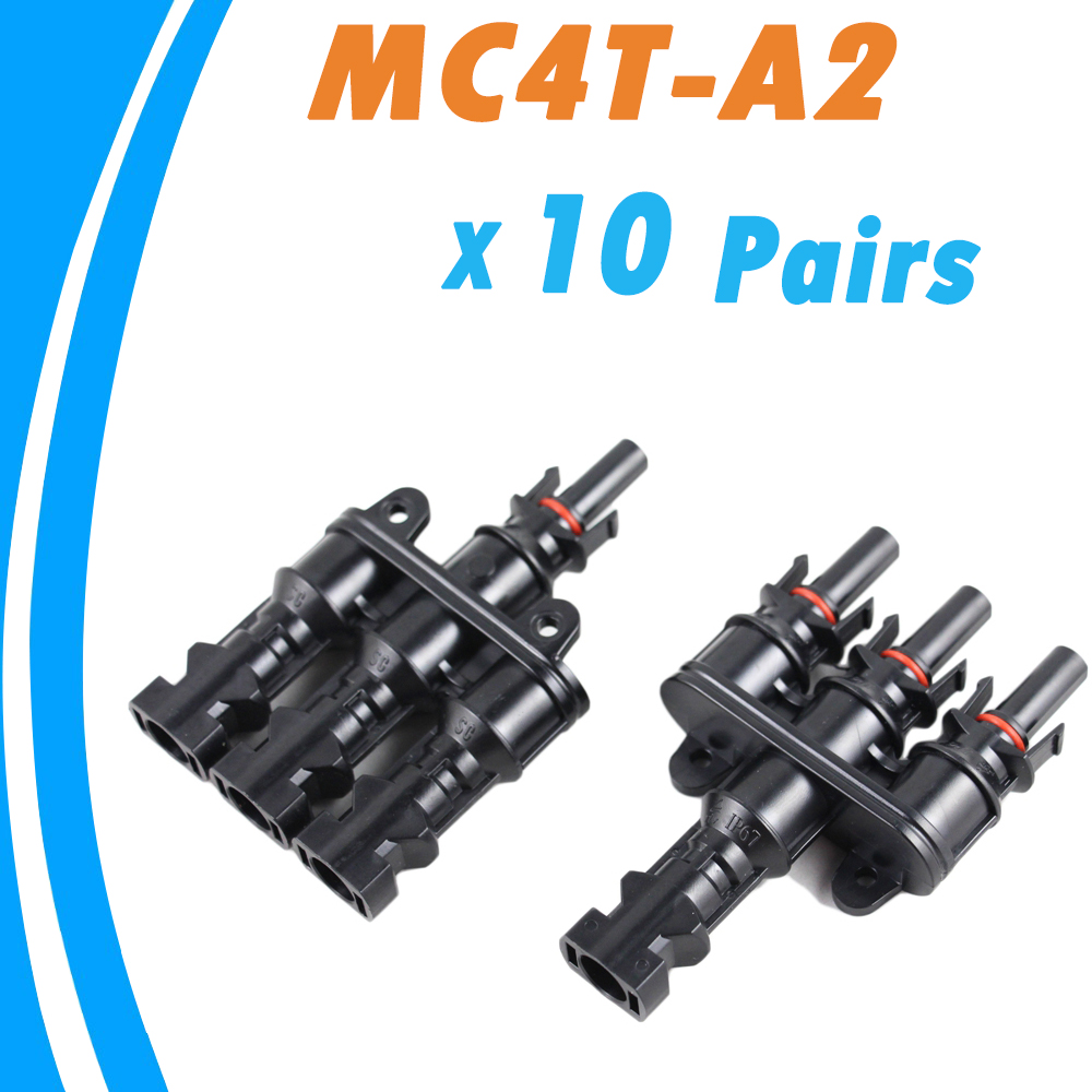 10 pairs Solar Panel MC4 3 to 1 T Branch Connectors One Female to Three Male,One Male to Three Female MC4 Panel Cable Connectors 10 pairs solar panel y type 1 to 2 mc4 connector m ff and f mm branch cable mc4 32cm length for connecting solar panels ip67