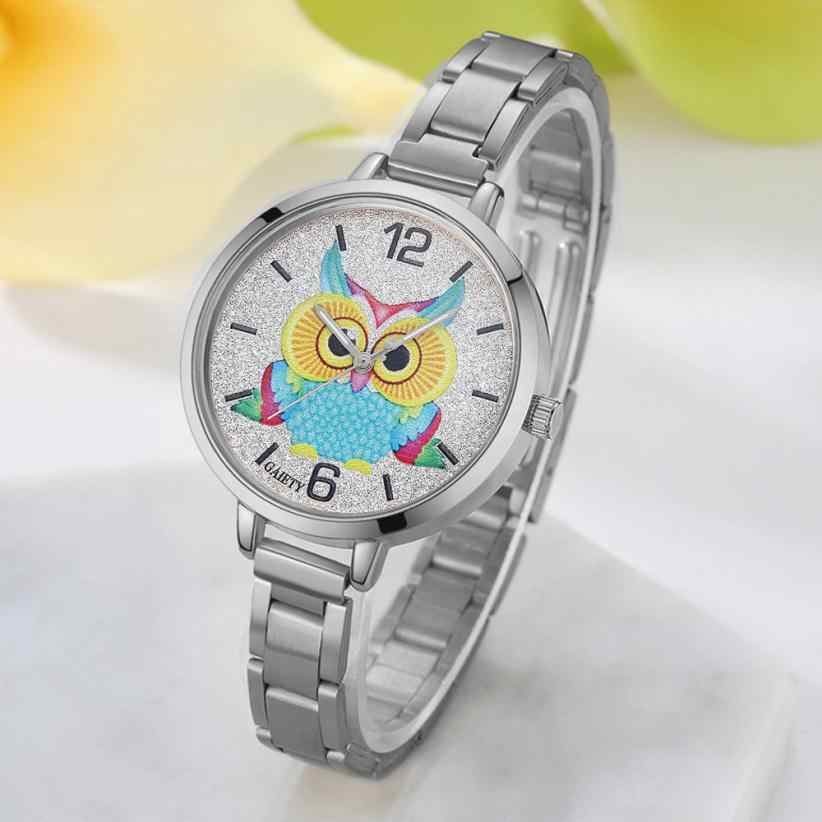 רצועת ינשוף קוורץ שעון יד לנשים אופנה חיוג חם למכירה אנלוגי ספורט שמלת גברת נשים תכשיטי וינטג 'נשי שעון קלאסי 4 &