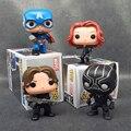 1 unids Capitán América 3 FUNKO POP Winter Soldier Guerra Civil Viuda Negro Pantera Negro 4 Estilos 10 cm Colección modelo de Juguete de Regalo