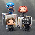 1pcs Captain America 3 FUNKO POP Civil War Black Widow Winter Soldier Black Panther 4Styles 10cm Collection Model Toy Gift