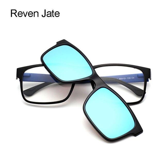 5e1616002 Reven Glasses Optical Eyewear Urltra Light TR90 Eyeglasses Frame With  Polarized Clip On Sunshades For Men