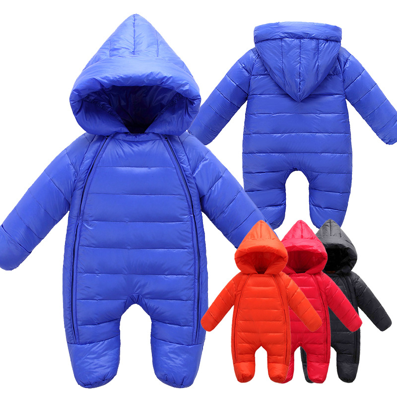 ФОТО Winter Baby Clothes Children Duck Down Snow Suit Infant Baby Boys Girls Warm Jumpsuit Newborn Snow Costumes Footies