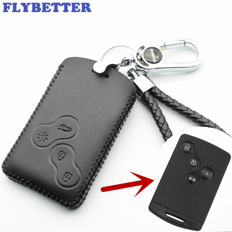 FLYBETTER Genuine Leather 4Button Smart Key Case Cover For Renault Clio/Scenic/Megane/Duster/Sandero Car Styling (B) L1809