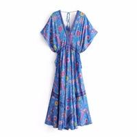 Vintage Long Dress 2018 Summer Casual Dress Blue Robe Short Sleeve Deep V Neck Peacock Bird