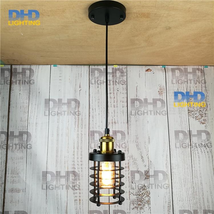110 240v art deco vintage industrial antique metal cage pendant light factory wire steel. Black Bedroom Furniture Sets. Home Design Ideas