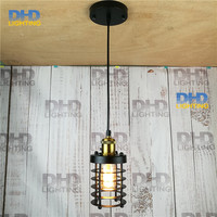 110 240v Art Deco Vintage Industrial Antique Metal Cage Pendant Light Factory Wire Steel Lampshade lamps new 2016 pendentes