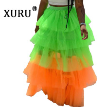XURU summer new womens mesh cake skirt multicolor sexy fashion casual stitching irregular