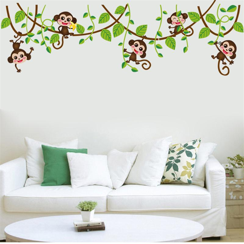 Jungle Monkey Tree Branch Wall Stickers For Kids Room Home