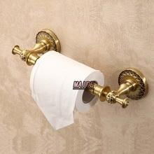 Высокое качество классический античный латунь искусство держатель туалетной бумаги рулон ткани кронштейн настенный ткани бар держатель