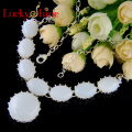 Luckyshine New Arrive Fire Drop Round Moonstone Silver Plated Wedding Chain Necklaces Russia USA Pendants Necklaces