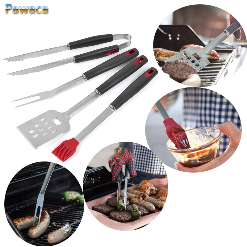 4pcs/set Stainless Steel Barbecue Fork Tong Shovel BBQ Tool Set Kitchen Tongs Steak Fork Roasting Grill Tools Kitchen Gardgets
