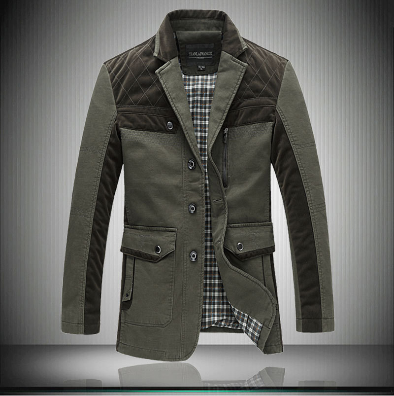 New Mens Autumn Long Jacket Men Single Breasted Trench Coat Plus ...