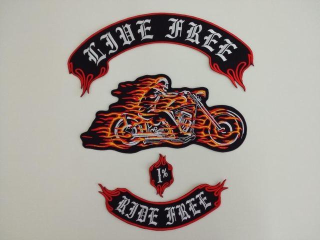 Ghost Rider Ziel Chariot Enorme Grote Borduurwerkflarden Motorfiets