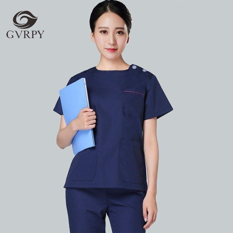 Short-sleeved Nurse Medical Uniform Surgical Room Suit V-neck Scrub Sets Women Clothing Hospital Beauty Salon Overalls Tops+pant