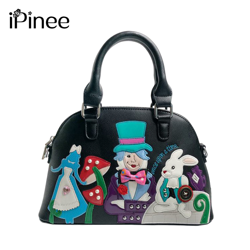 IPinee Crossbody Bags For Women Messenger Bags 2019 PU Leather Bags Handbags Women Famous Brand Embroidery Small Shell Bag