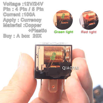 Universal Automotive 12V/24V 100A Voltage Relay 4 Pin / 5 Pin Waterproof Copper Light For Skoda Octavia A5 Geely Mk Peugeot 207