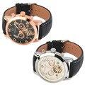 Marca de topo Homens Relógio De Luxo Mecânico Automático de Couro Falso Banda relógio de Pulso Oco Releges Semana Calendário Relogio masculinos