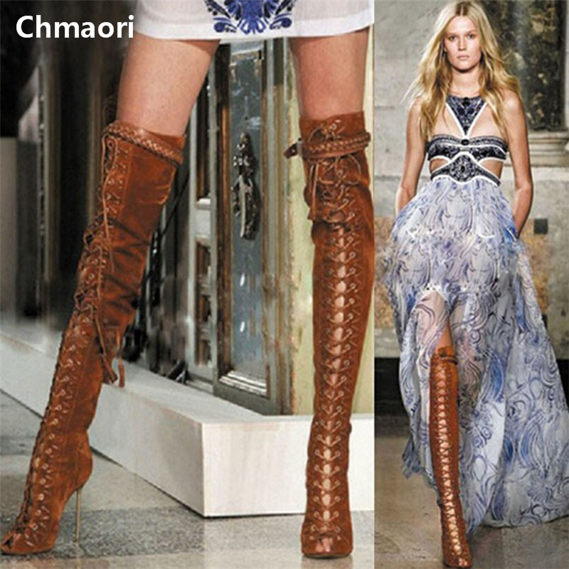 newest design peep toe lace up over the knee thigh high woman boots woman winter motorcycle sexy boots