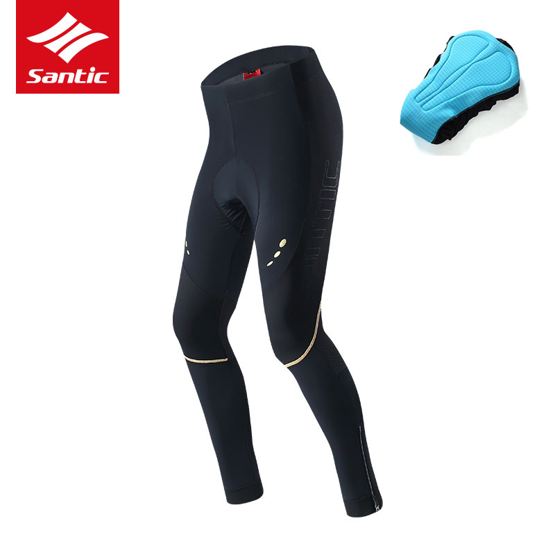 Santic Men Spring Cycling Pants Pro Compression Protect Bike Trousers Italian Imported Padded MTB Road Bike Bicycle Long Pants