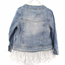 Spring Autumn girls outerwear Lace Cowboy Denim Jacket Top Button Costume Outfits Coat Kids Girls Clothes Girl Jackets