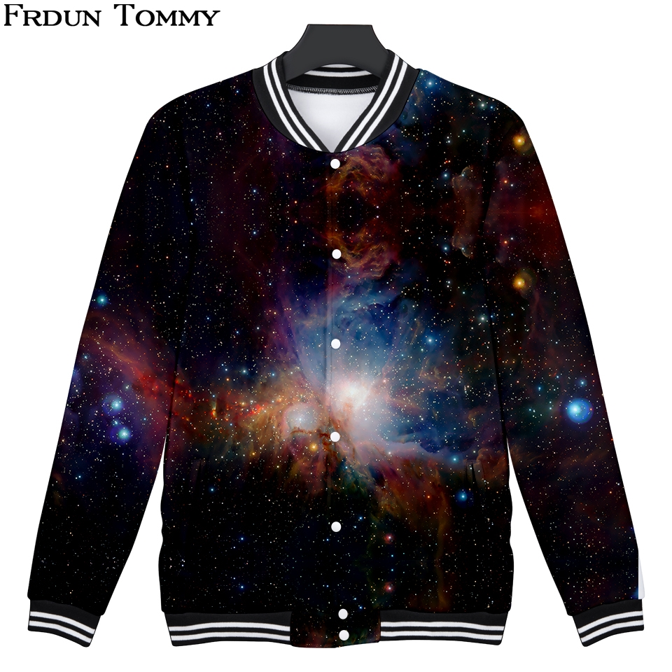 Frdun Tommy 3D Baseball Jacket Star Sky Casual Long Sleeve Women/Men Fashion Harajuku Winter Casual 3D Baseball Jacket