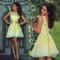 Lovely Short Yellow Homecoming Dresses Beaded Appliques Tulle Homecoming Dress Glamorous Graduation Gowns Girls Party Dress HC89