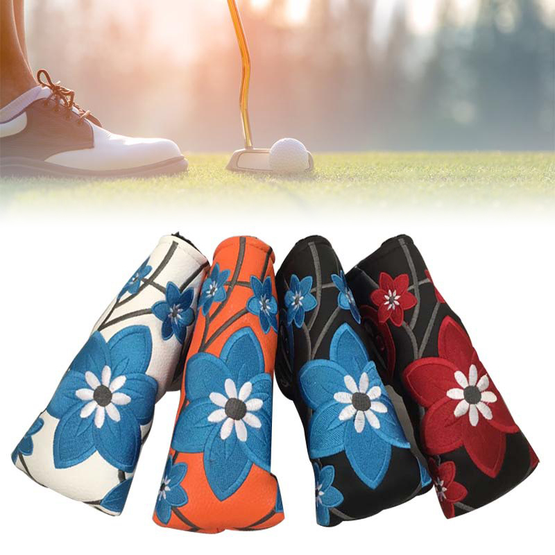 PU Golf Putter Cover Four-leaf Clover Embroidery Headcover For Golf Activity Embroidery  Golf Blade Putter Head  Protector