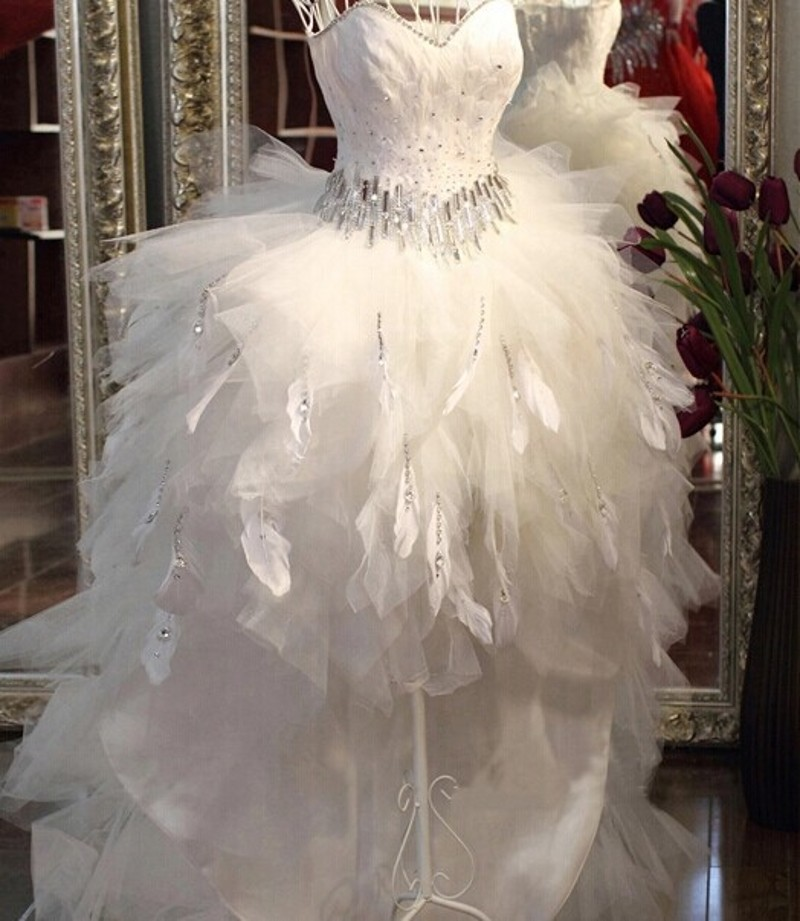 Quality Feather Wedding Dress Front Short Back Long Bridal Gowns Train Low High Tube Top Crystal ...