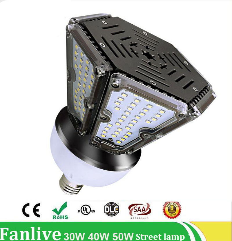 12PCS/LOT Outdoor High Power 30W 40W 50W LED Street Light Road Garden Lamp LED Corn Bulb Lighting AC100-277V Waterproof IP65 50000 hours life span by22d sox led bulb 35w b22 lps bulb ac100 277v 50 60hz replace sox90 sox135 low pressure sodium