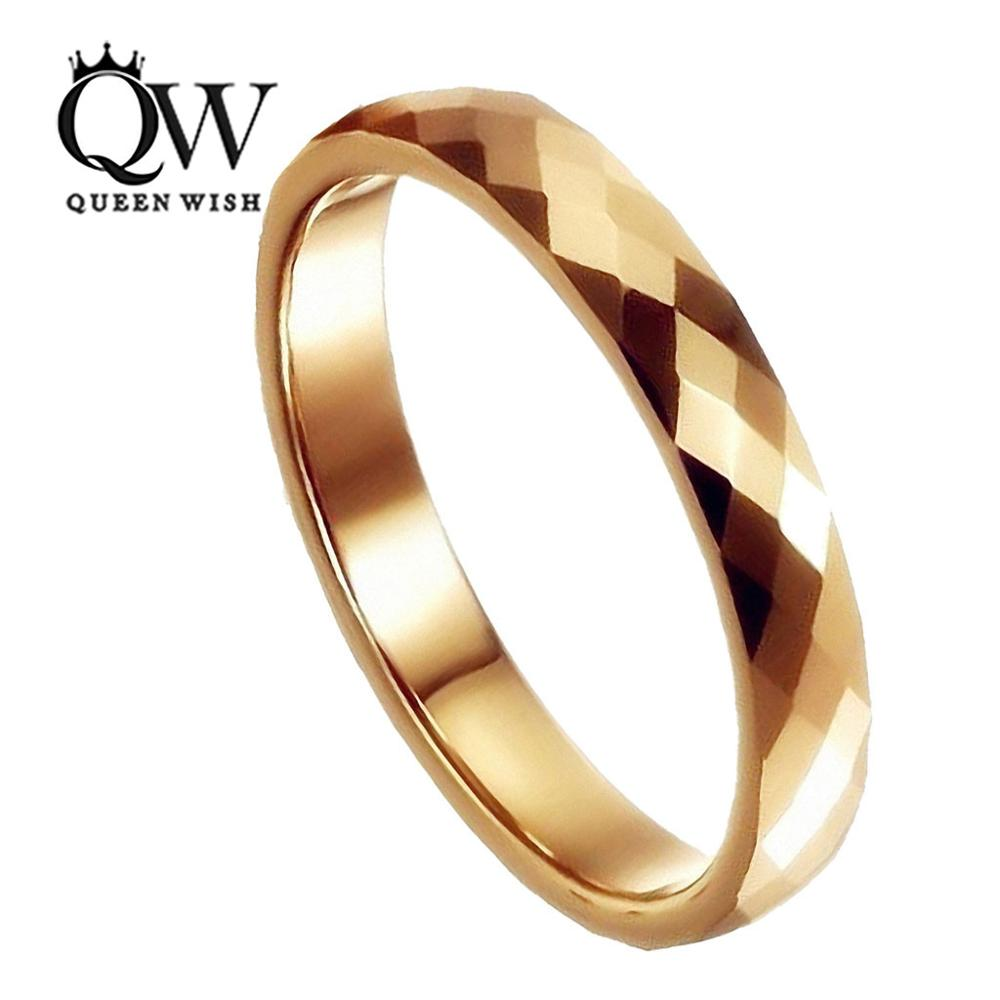 Queenwish 3mm Tungsten Ring Gold Breit Multi Faceted Prism Cut Wedding Band With Box In Rings From Jewelry Accessories On Aliexpress