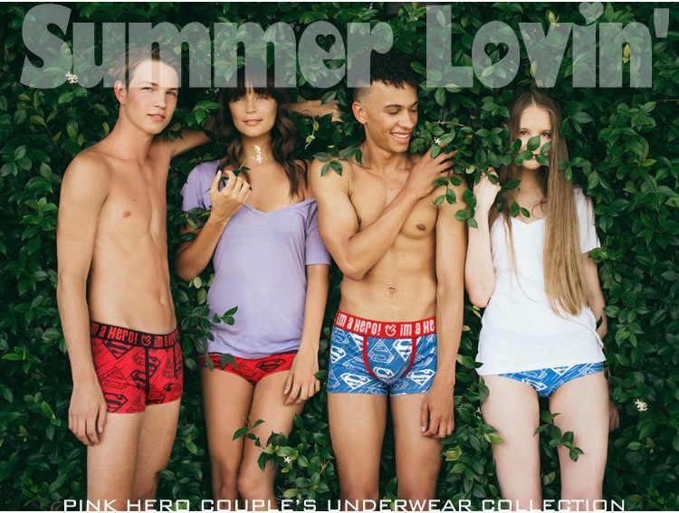 5e147b0375ad ... Cartoon Batman Superman Printed Couple Panties Underwear Men Women  Panties Lingerie Male Lady Lovers Valentine's Day ...