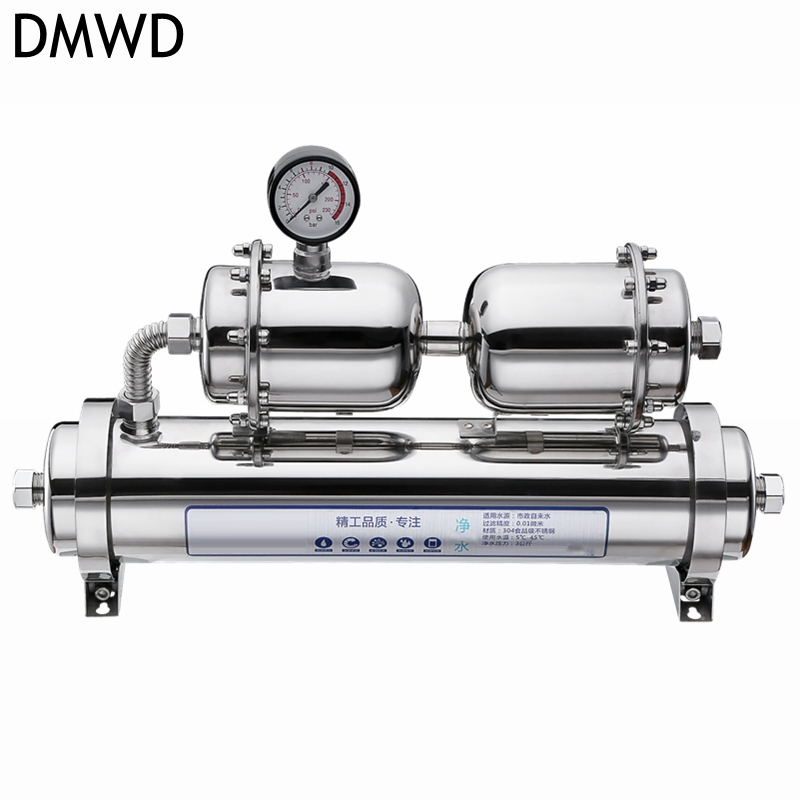 DMWD Water treatment Water purifier filter 1000L/h Stainless steel durable With water pressure meter sterilization disinfection 500l h kitchen water filter machine with 304 stainless steel shell and food grade ultrafiltration membrane for water treatment