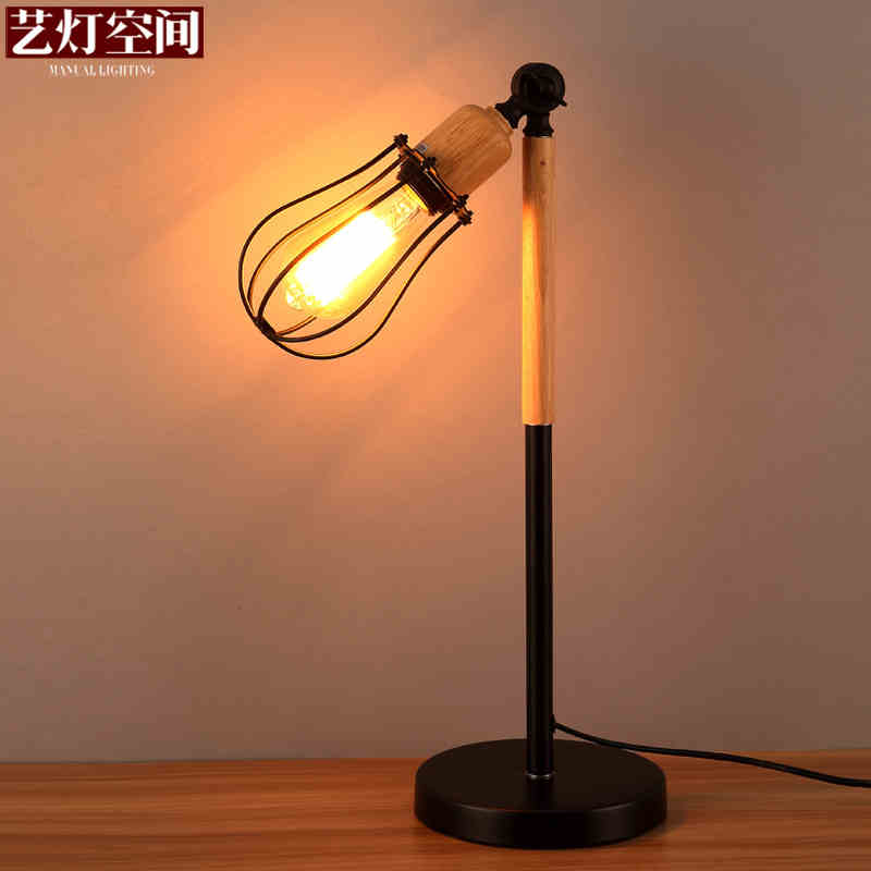 Northern Europe Loft Style Wrought Iron Net Shape Rotatable Table Lamp Wood Art Bedside Bedroom Study Table Light Free Shipping