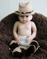Newborn Cowboy Hat Caps Handmade Knitting Baby Cowboy Hat And Boots 2pcs Baby Set Size 0