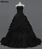 Vestido de Noiva de Cetim preto Elegante Longo Vestidos de Casamento Vestidos de Noiva Simples vestido de noiva Tribunal Trem robe de mariee