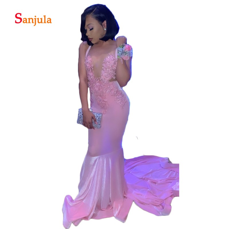 Pink Sheath Spandex Long   Prom     Dresses   Back Criss-Cross Sexy Girls Graduation   Dresses   2019 Appliques Beaded   Prom   Gowns D1033