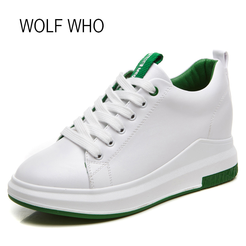 WOLF WHO Higt Top Hidden Heel White Platform Wedge Sneakers Women Tenis Feminino Casual Basket Femme Superstar Shoes H-125 wolf who women winter shoes fur wedge fashion sneakers women hidden heels basket femme tenis femininos casual h 152