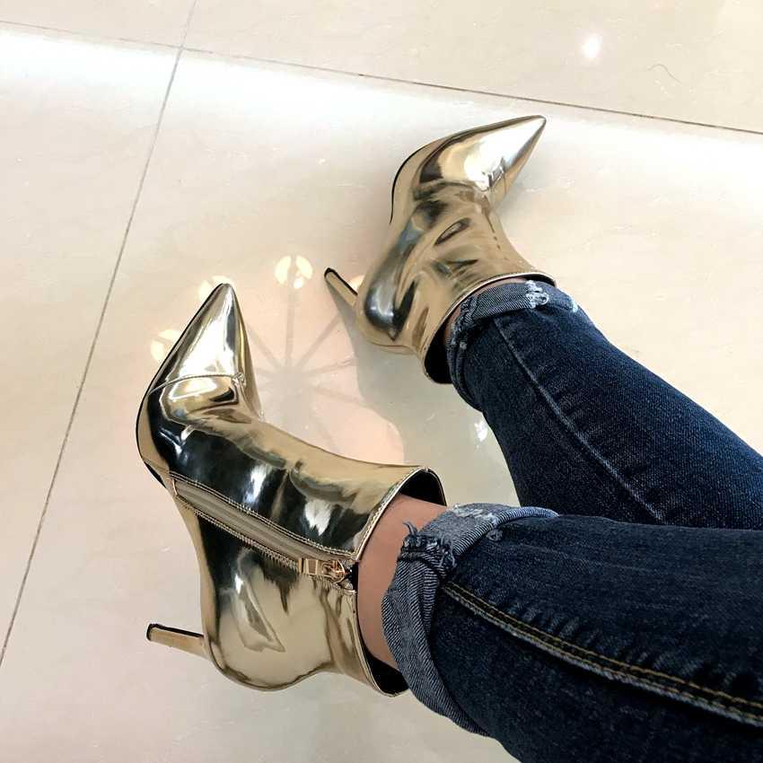 Frauen Winter Party Stiefel Frau Kleid Gold Leder Ankle Boot Faux Pelz Hohe Ferse Schuhe Dame Herbst 10,5 CM Hohe heels Bottine