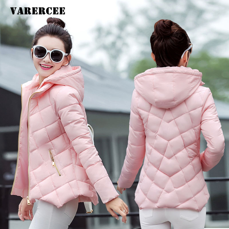 2017 winter jacket women long sleeve Thick keep Warm Jacket coat solid Hooded slim cotton Criss-cross pattern short women parkas europe and the united states long sleeve hooded keep out the cold winter to keep warm and comfortable cotton coat