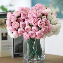 27 cabezales té Rosa ramo de flores de seda Artificial mesa de Hotel hogar Decoración de flor falsa boda novia sosteniendo ramo Floral