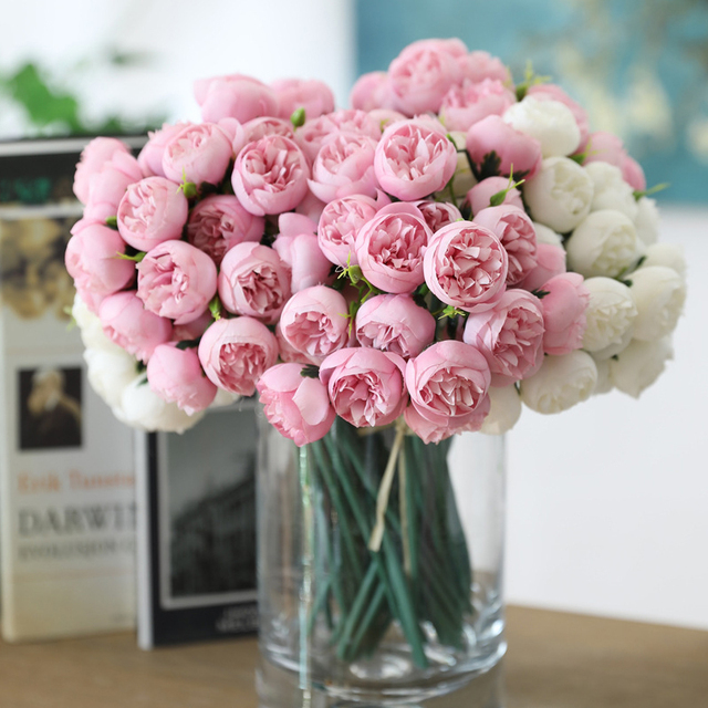 Tea Rose Artificial Silk Flower Bouquet For Home / Hotel / Wedding Table Decoration