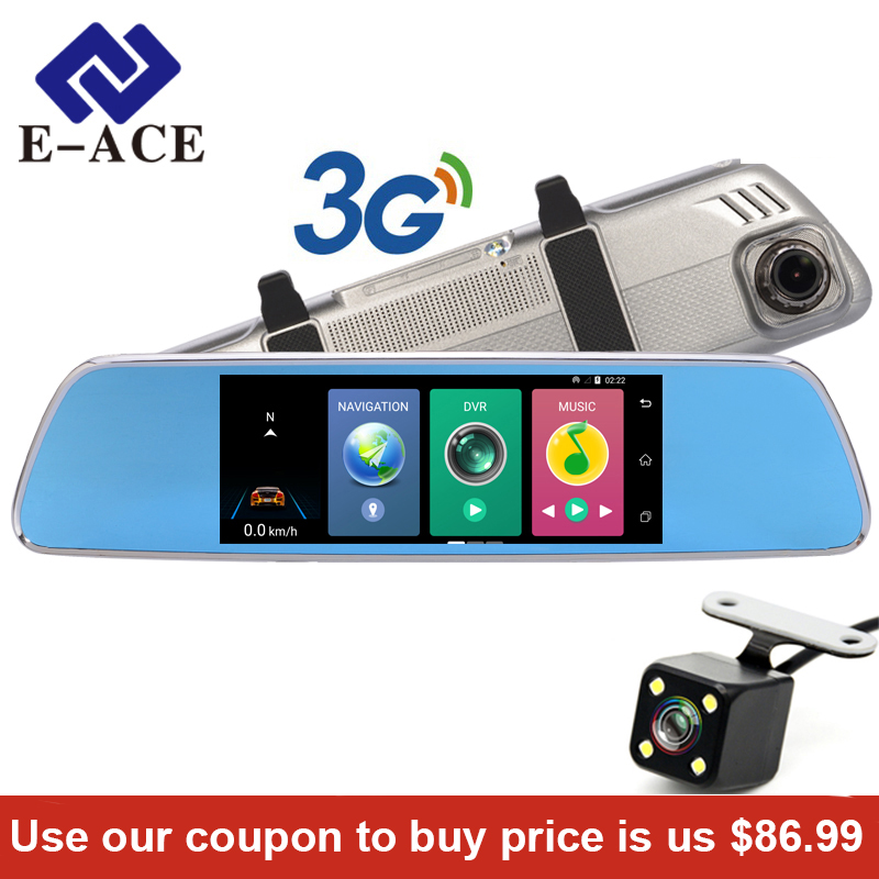 E-ACE GPS Navigation WIFI Dashcam Dual Lens 7Car Dvr Camera Touch Navigator Video Recorder Rearview Mirror 3G Android 5.0 1080P