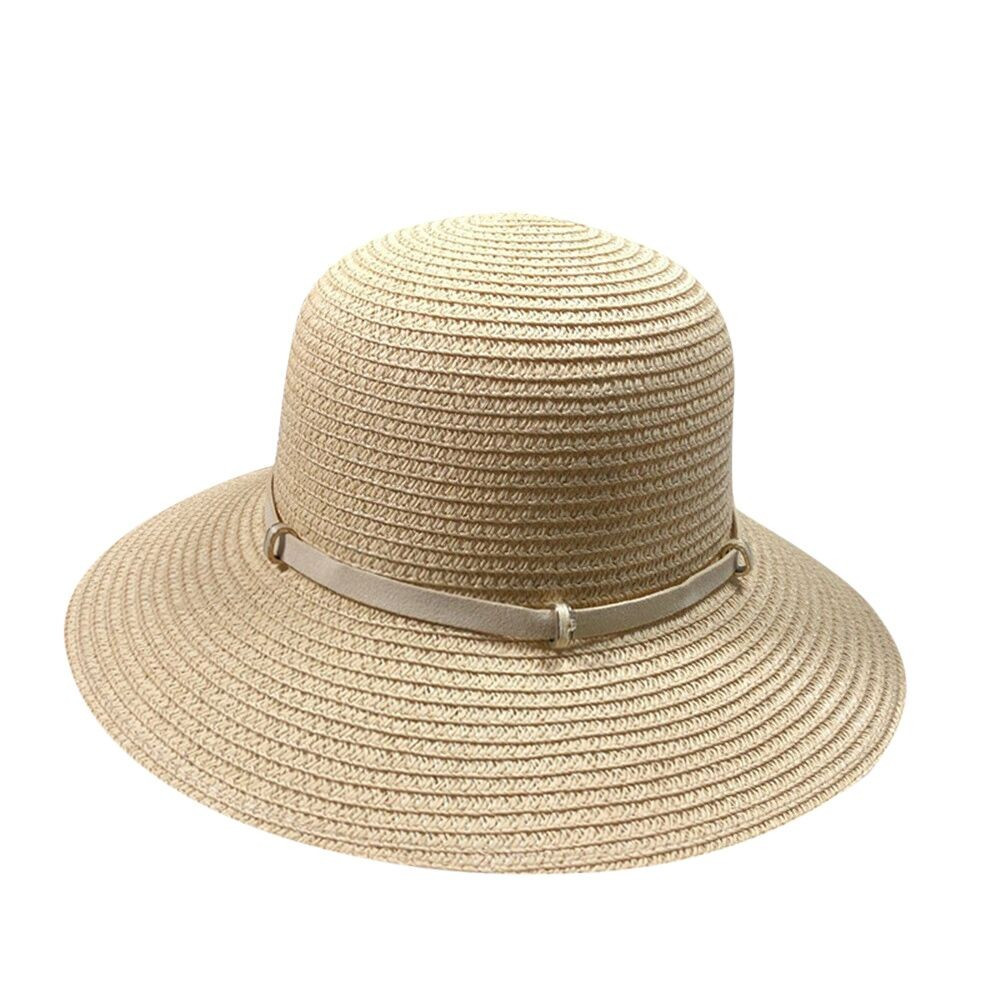 e4cff9dc Womens Foldable Summer Straw Hat Beach Cap Fedora Sun Beach hat UPF50+  Clothing, Shoes & Jewelry