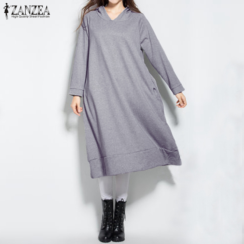 ZANZEA Women Hoodies 2018 Autumn Sweatshirts Casual Loose Hooded Dress Long Sleeve Pullover Oversized Outerwear Plus Size