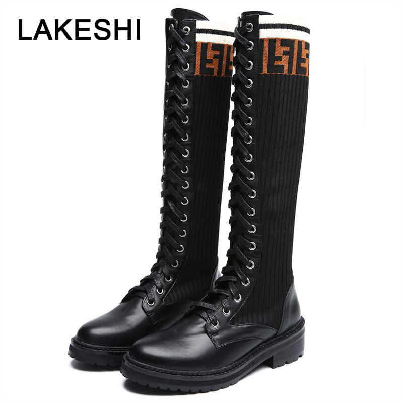 5b77c84fbb60 LAKESHI Women Winter Boots Platform Lace Up Sock Boots Women Thigh High Boots  Women Motorcycle Boots