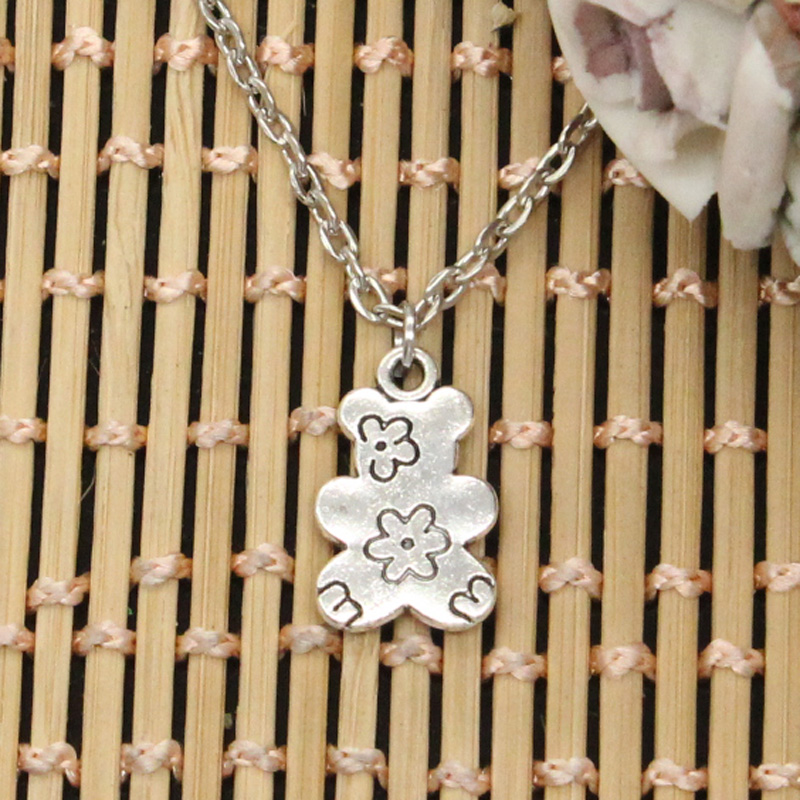 New Fashion Double Sided Flower Bear Pendants Round Cross Chain Short Long Mens Womens DIY Silver Color Necklace Jewelry Gift