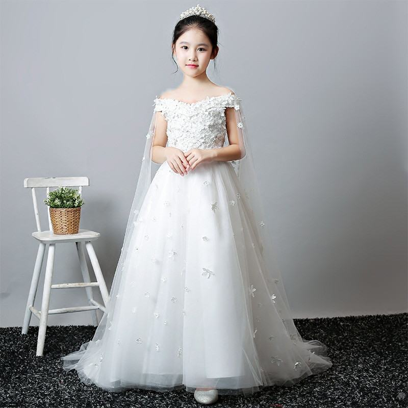2019 New Teenage Girl Mesh Flower Trailing Princess Dress Kids Dresses For Girls Wedding Party Toddler Girl Clothing Vestido F252019 New Teenage Girl Mesh Flower Trailing Princess Dress Kids Dresses For Girls Wedding Party Toddler Girl Clothing Vestido F25